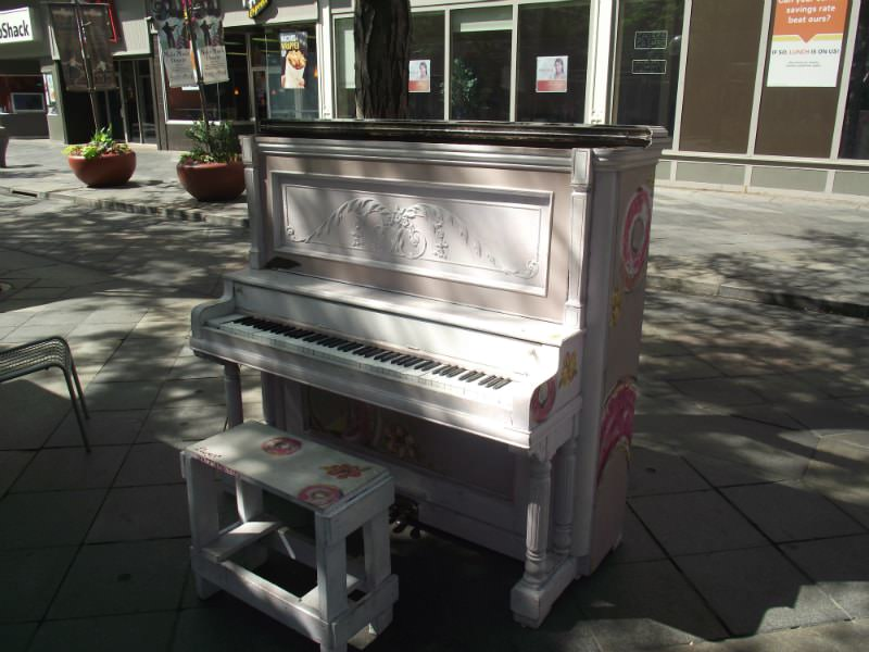 Pink Piano at the 16th Street Mall in Denver.