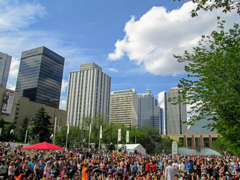 Sir Winston Churchill Square in Edmonton, Alberta, Canada.